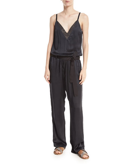 V-Neck Sleeveless Belted Wide-Leg Jumpsuit with Monili Trim
