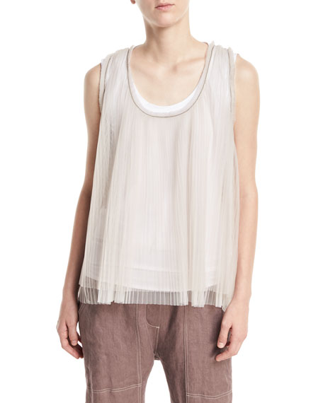 Scoop-Neck Tulle Pleated Tank with Cotton Tank Attached