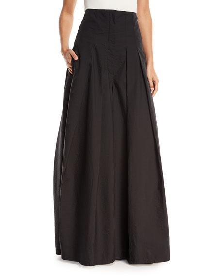 Brunello Cucinelli Crinkled Cotton Wide-Leg Skirt Pants and