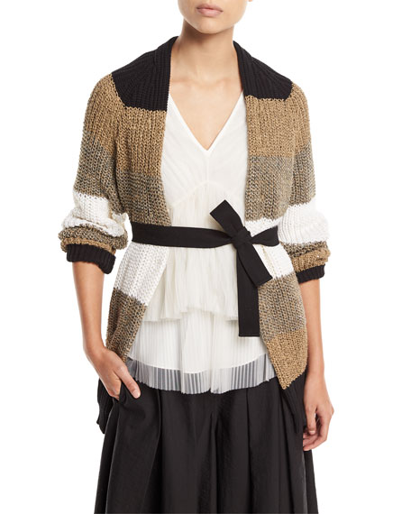 Brunello Cucinelli Open-Front Belted Coated Linen-Silk Cardigan