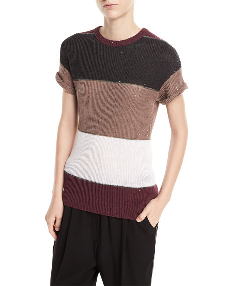 Brunello Cucinelli Crewneck Short-Sleeve Rugby-Stripe Pullover Top