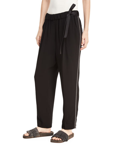 Brunello Cucinelli Pull-On Belted Straight-Leg Pants with Monili