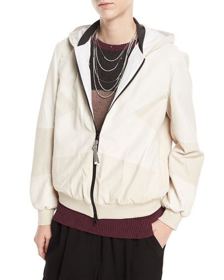 Brunello Cucinelli Zip-Front Leather and Suede Hooded Jacket