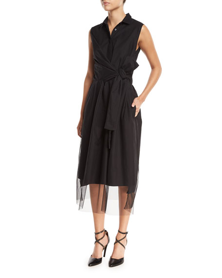 Brunello Cucinelli Sleeveless Tulle Cross-Front Midi Dress