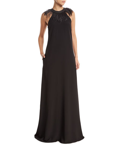 Brunello Cucinelli Sleeveless Silk-Crepe Evening Gown with
