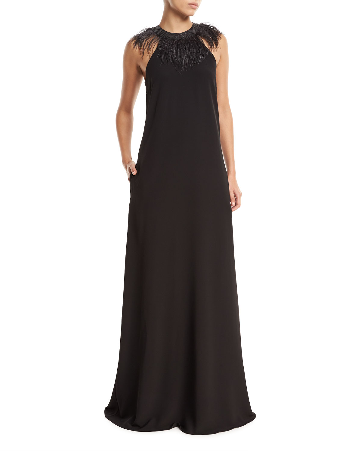 Brunello Cucinelli Sleeveless Silk-Crepe Evening Gown with Feather ...