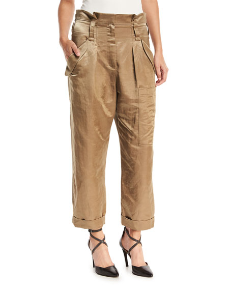 Brunello Cucinelli Linen-Satin Straight-Leg Cargo Pants