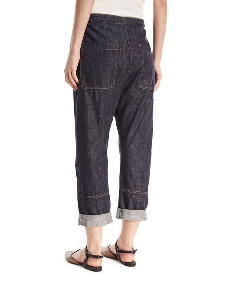 Straight-Leg Utility Denim Pants with Grosgrain Belt