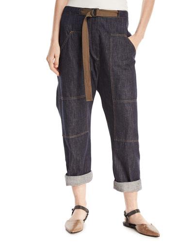 Straight-Leg Utility Denim Pants with Grosgrain Belt