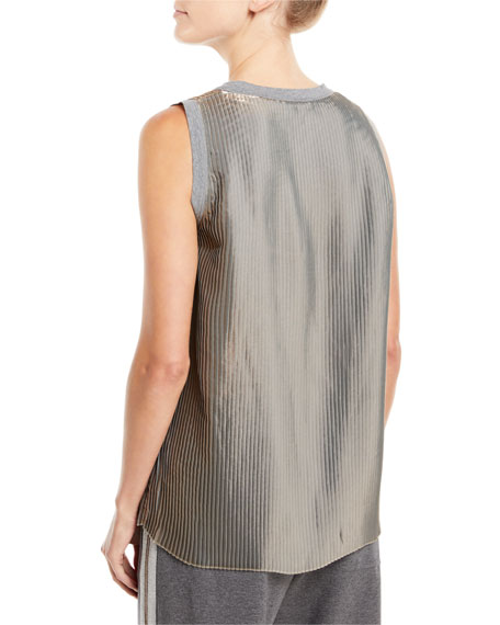 Scoop-Neck Metallic Pleated Tank Top with Knit Trim