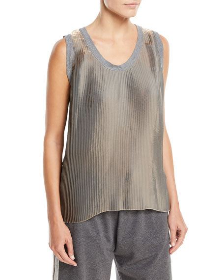 Brunello Cucinelli Scoop-Neck Lam?? Pleated Tank Top with