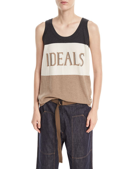 Brunello Cucinelli Ideals Scoop-Neck Sleeveless Cashmere Tank