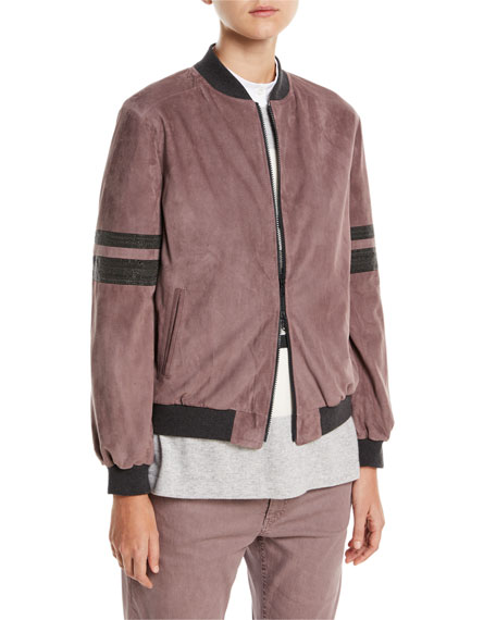 Suede Zip-Front Bomber Jacket with Monili Trim