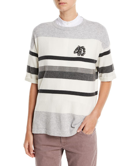 Crewneck Striped 2-Ply Cashmere Top, Gray