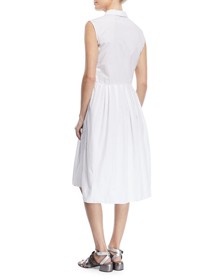 Sleeveless Cotton Wrap-Front Shirtdress With Embroidered Placket