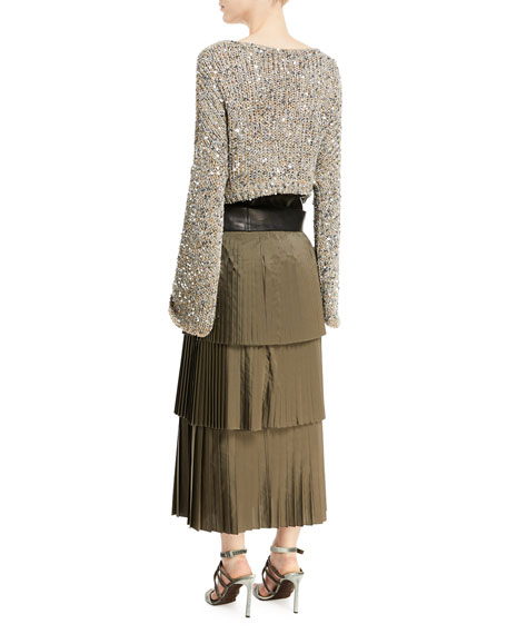 Waxed Cotton-Linen Tweed Cropped Pullover with Clear Paillettes