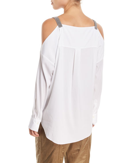Long-Sleeve Cold-Shoulder Blouse with Monili Straps