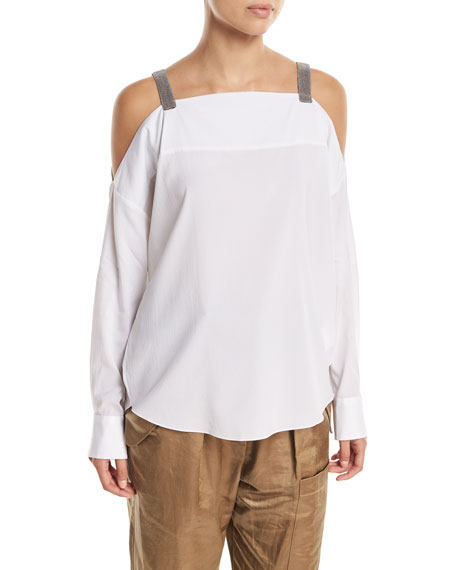 Brunello Cucinelli Long-Sleeve Cold-Shoulder Blouse with Monili