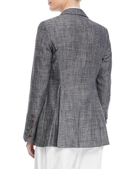 One-Button Fitted Silk-Linen Tweed Blazer