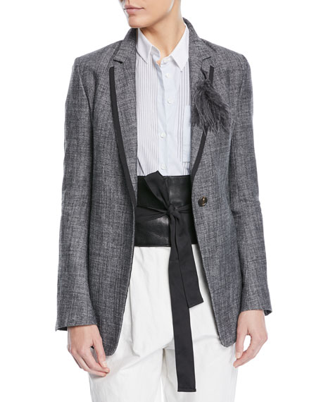 One-Button Fitted Silk-Linen Tweed Blazer