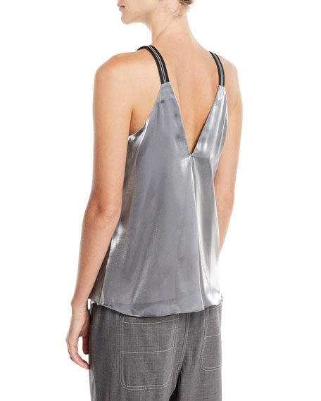 V-Neck Grosgrain-Strap Metallic Tank