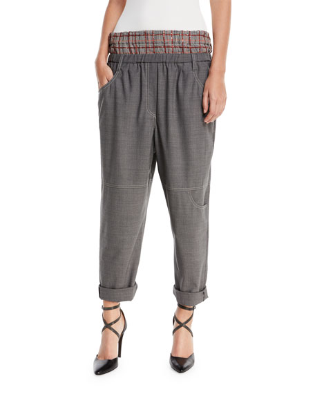 Straight-Leg Wool Utility Pants with Attached Boxer