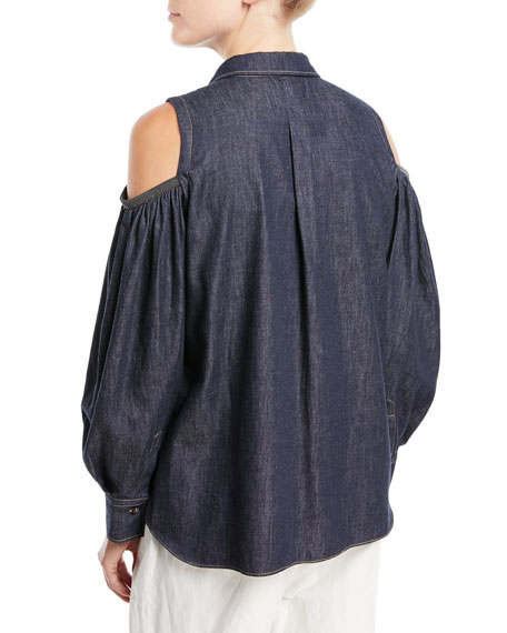 Button-Front Cold-Shoulder Denim Blouse