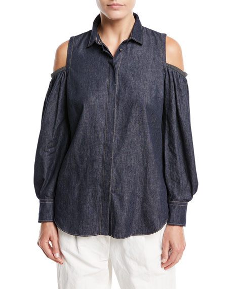 Brunello Cucinelli Button-Front Cold-Shoulder Denim Blouse