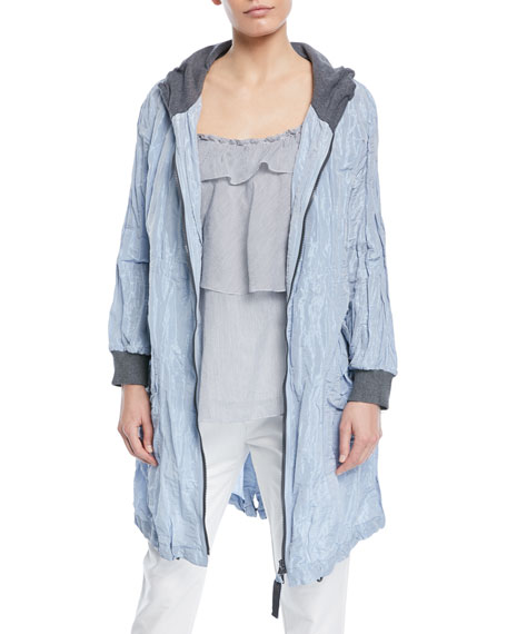 Crinkle Taffeta Hooded Jacket with Contrast Lining