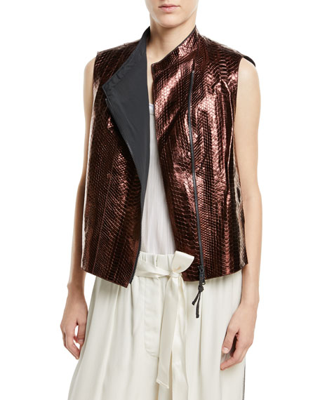 Python Glossy Asymmetric Zip-Front Vest in Purple