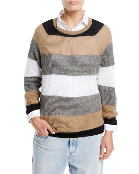 Ribbed Mohair Rugby-Stripe Long-Sleeve Crewneck Sweater