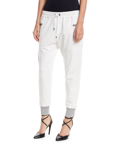 Drawstring Square-Pockets Stretch-Cotton Jogger Pants