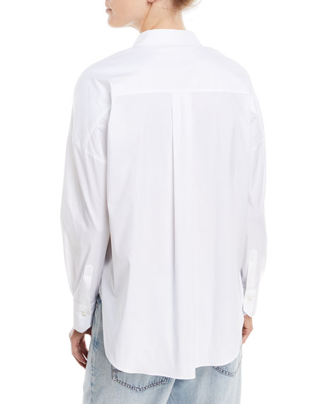 Woven Poplin Blouse with Monili Trim
