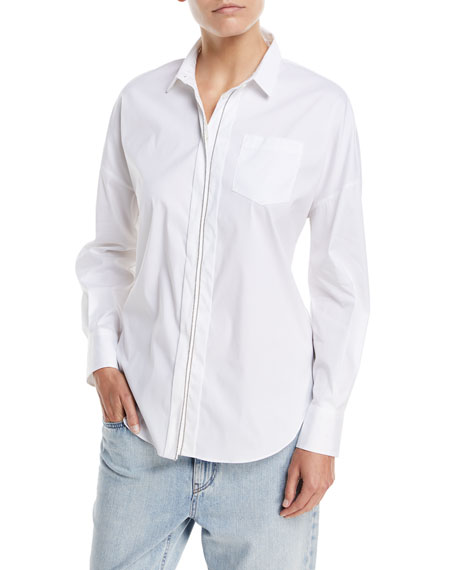 Brunello Cucinelli Woven Poplin Blouse with Monili Trim