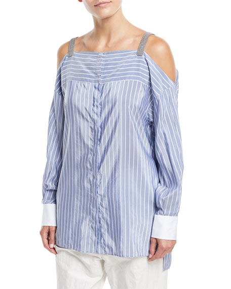Brunello Cucinelli Off-the-Shoulder Striped Long-Sleeve Tunic