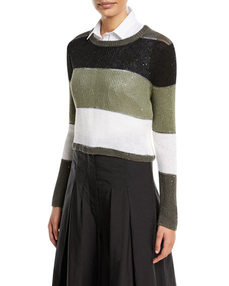 Brunello Cucinelli Crewneck Long-Sleeve Striped Pullover Sweater