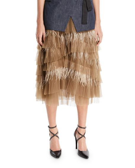 Tiered Tulle Feathered Midi Skirt