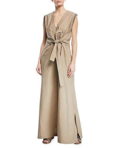 Sleeveless Wrap-Front Voile Maxi Dress