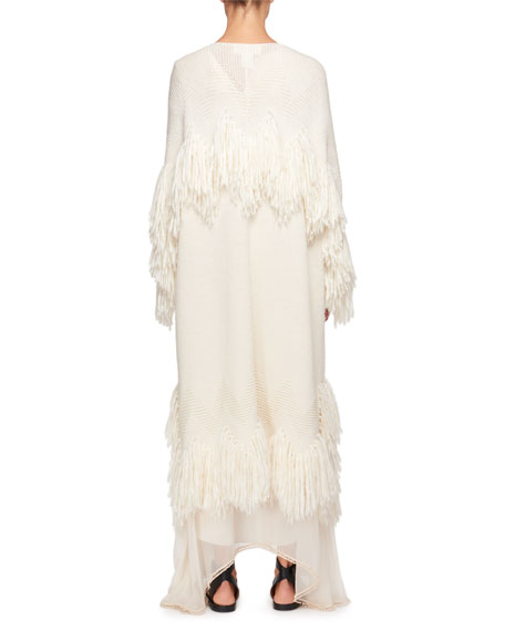 Shaggy Wool Open-Front Fringed Coat