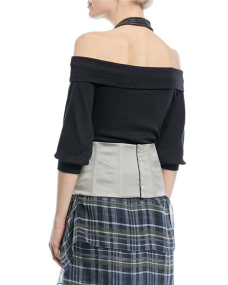 Off-Shoulder Ribbed Cotton Top