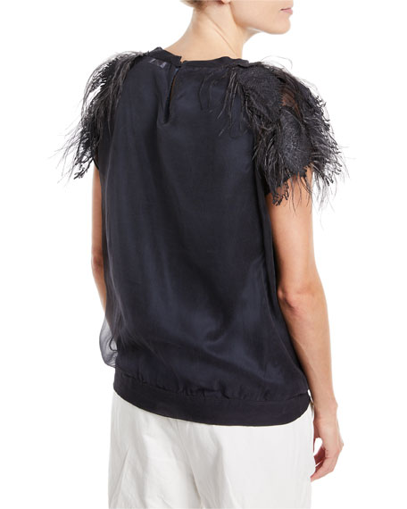 Crewneck Short-Sleeve Silk Top with Feathers
