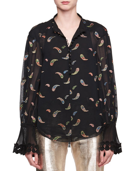 Paisley Metallic Jacquard Long-Sleeve Silk Blouse