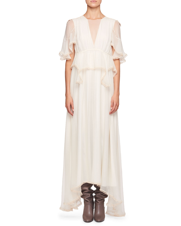 Chloe High Neck Flutter Sleeve Evening Gown W Scalloped Edges