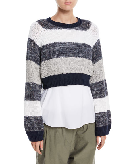 Coated Rugby-Stripe Long-Sleeve Cropped Pullover Sweater