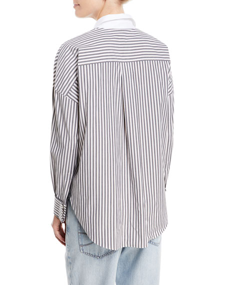 Cotton Poplin Metallic-Striped Long-Sleeve Blouse