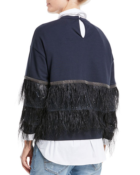 Crewneck Long-Sleeve Pullover Sweatshirt with Ostrich Feather Tiers
