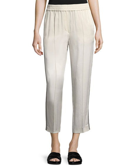 Shiny Straight-Leg Pull-On Pants with Track Stripes