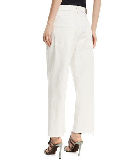 Mid-Rise Wide-Leg Denim Pants with Grosgrain Belt