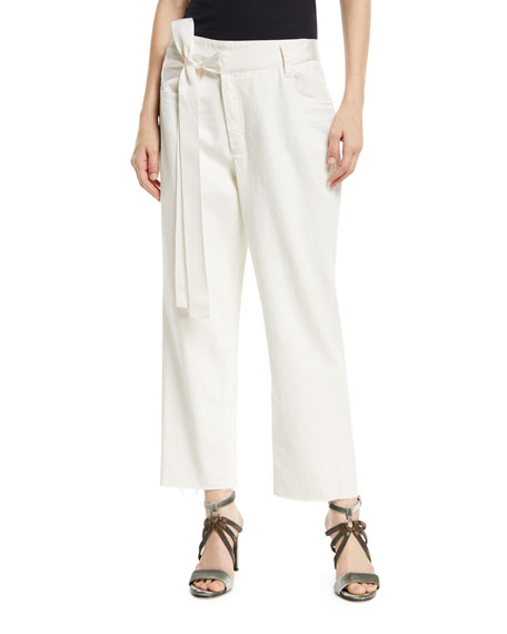 Brunello Cucinelli Mid-Rise Wide-Leg Denim Pants with Grosgrain