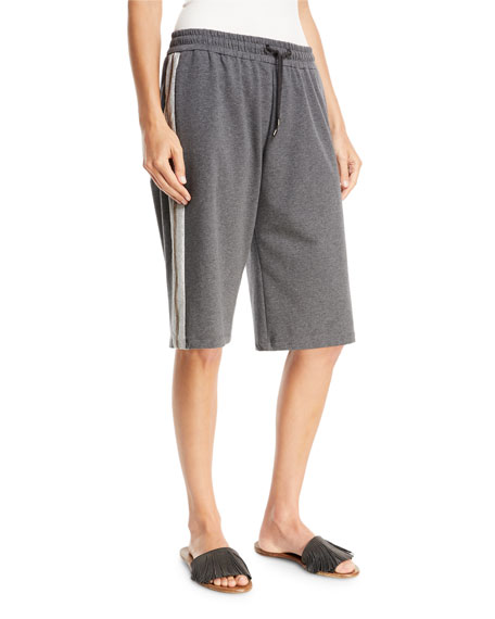 Brunello Cucinelli Felpa Pull-On Bermuda Shorts with Metallic